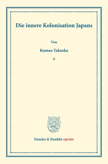 Cover: Die innere Kolonisation Japans