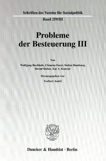 Cover: Probleme der Besteuerung III
