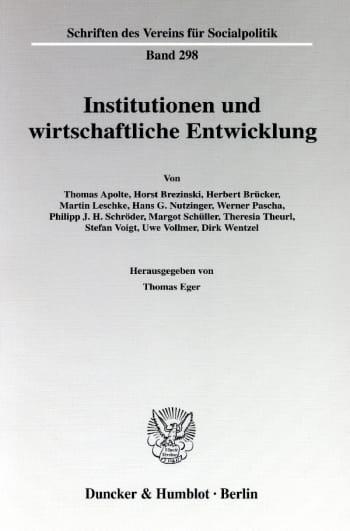 Cover: Institutionen und wirtschaftliche Entwicklung