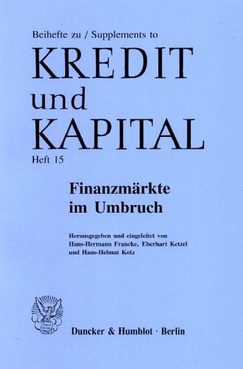 Cover: Beihefte zu Kredit und Kapital (BH KUK)