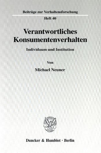 Cover: Verantwortliches Konsumentenverhalten