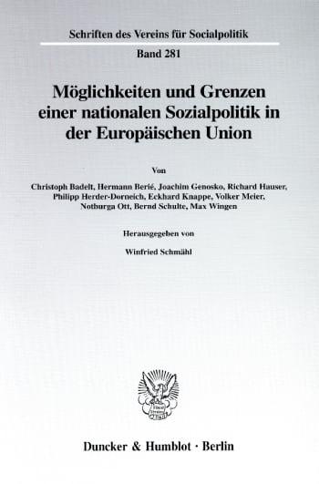 Cover: Möglichkeiten und Grenzen einer nationalen Sozialpolitik in der Europäischen Union
