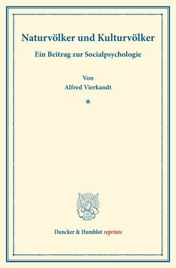 Cover: Naturvölker und Kulturvölker