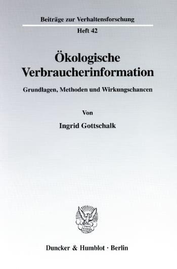 Cover: Ökologische Verbraucherinformation