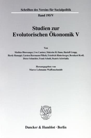Cover: Studien zur Evolutorischen Ökonomik V