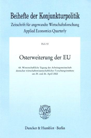 Cover: Beihefte der Konjunkturpolitik (BH KOPO)