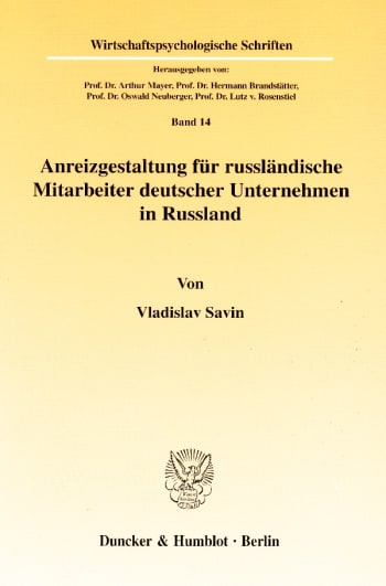 Cover: Anreizgestaltung für russländische Mitarbeiter deutscher Unternehmen in Russland