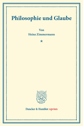 Cover: Philosophie und Glaube