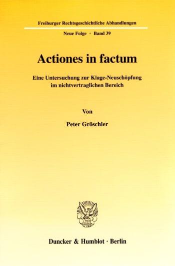 Cover: Actiones in factum