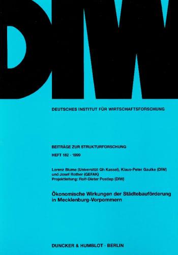 Cover: Ökonomische Wirkungen der Städtebauförderung in Mecklenburg-Vorpommern