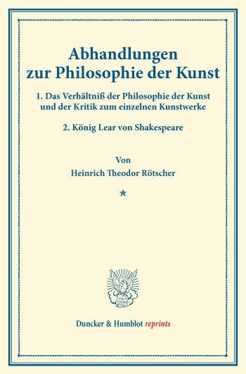 Cover: Abhandlungen zur Philosophie der Kunst