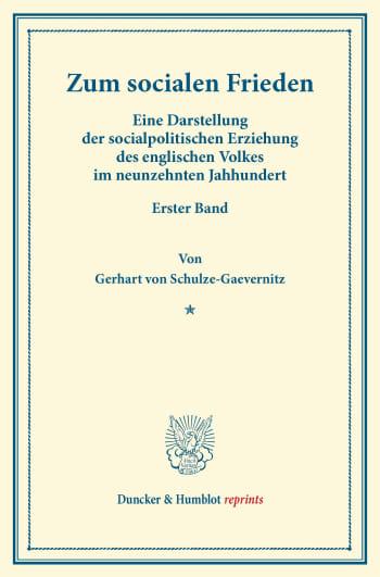 Cover: Zum socialen Frieden