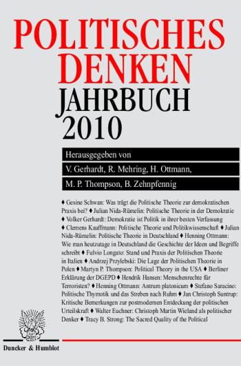 Cover: Politisches Denken. Jahrbuch 2010
