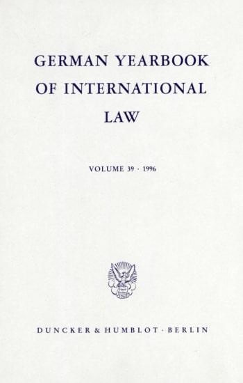 Cover: German Yearbook of International Law / Jahrbuch für Internationales Recht