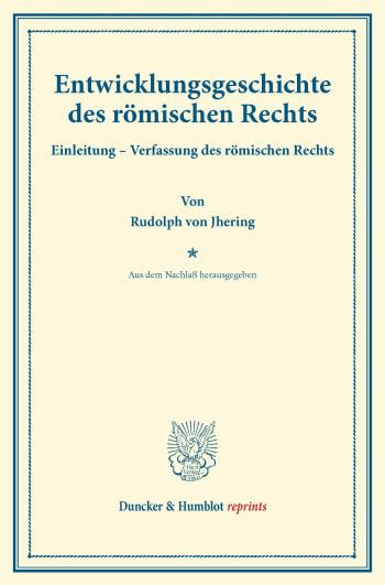 Cover: Entwicklungsgeschichte des römischen Rechts