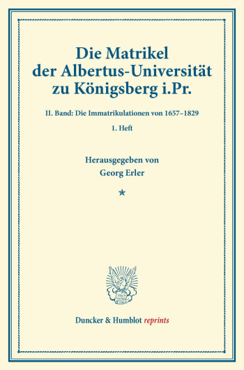 Cover: Die Matrikel der Albertus-Universität zu Königsberg i.Pr