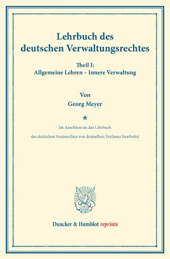 Cover: Lehrbuch des deutschen Verwaltungsrechtes