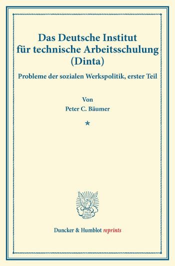 Cover: Das Deutsche Institut für technische Arbeitsschulung (Dinta)