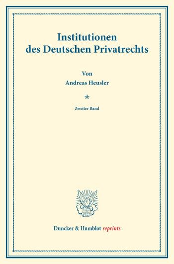 Cover: Institutionen des Deutschen Privatrechts