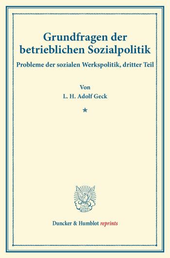 Cover: Grundfragen der betrieblichen Sozialpolitik