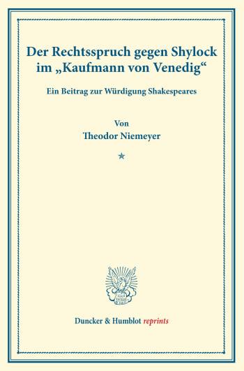 Cover: Der Rechtsspruch gegen Shylock im »Kaufmann von Venedig«