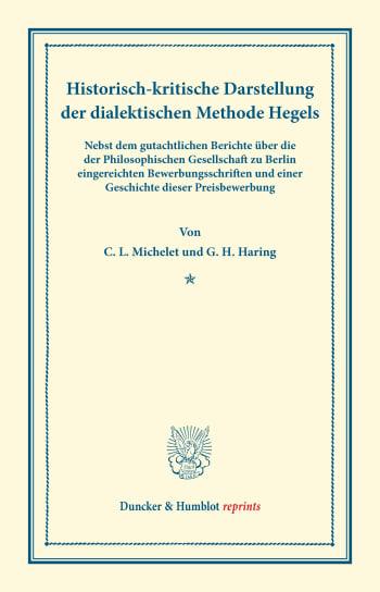 Cover: Historisch-kritische Darstellung der dialektischen Methode Hegels
