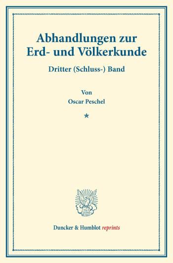 Cover: Abhandlungen zur Erd- und Völkerkunde