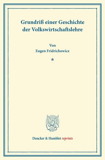 Cover: Grundriß einer Geschichte der Volkswirtschaftslehre