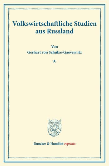 Cover: Volkswirtschaftliche Studien aus Rußland