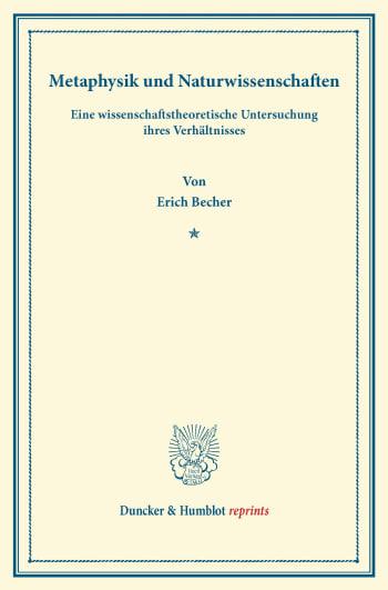 Cover: Metaphysik und Naturwissenschaften