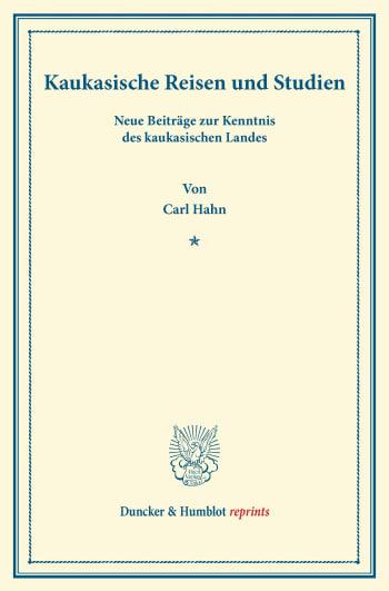 Cover: Kaukasische Reisen und Studien