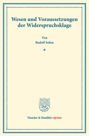 Cover: Wesen und Voraussetzungen der Widerspruchsklage