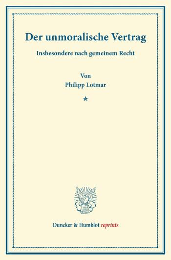 Cover: Der unmoralische Vertrag