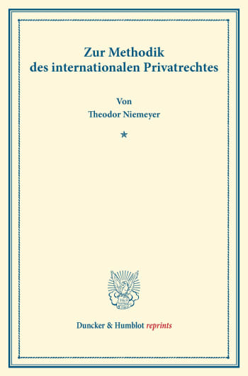 Cover: Zur Methodik des internationalen Privatrechtes