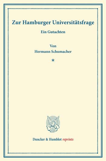 Cover: Zur Hamburger Universitätsfrage