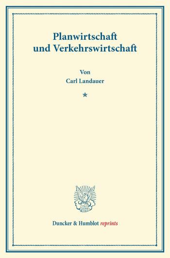 Cover: Planwirtschaft und Verkehrswirtschaft