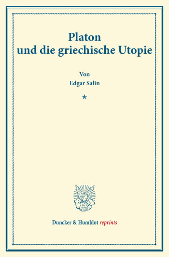 Cover: Platon und die griechische Utopie