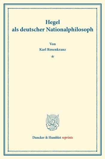 Cover: Hegel als deutscher Nationalphilosoph