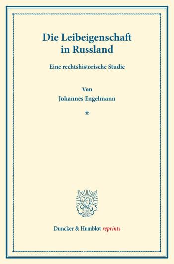 Cover: Die Leibeigenschaft in Russland