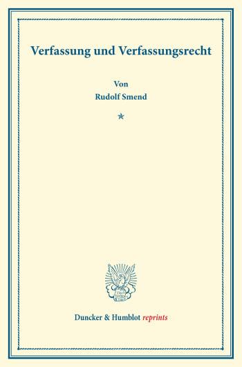 Cover: Verfassung und Verfassungsrecht
