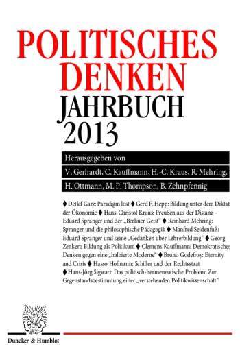 Cover: Politisches Denken. Jahrbuch 2013