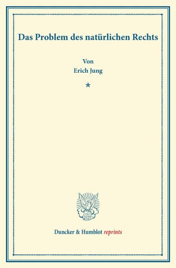 Cover: Das Problem des natürlichen Rechts