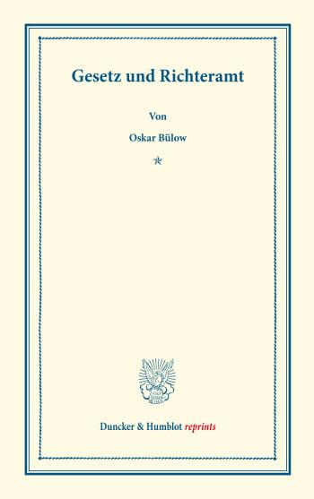 Cover: Gesetz und Richteramt