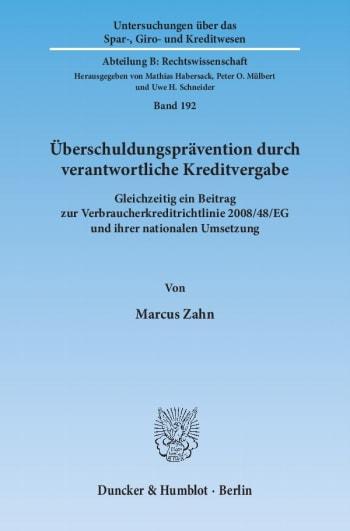 Cover: Überschuldungsprävention durch verantwortliche Kreditvergabe