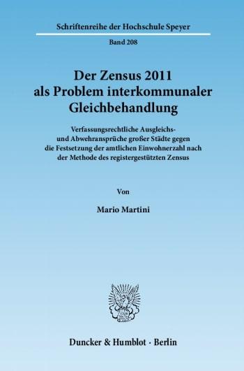 Cover: Der Zensus 2011 als Problem interkommunaler Gleichbehandlung