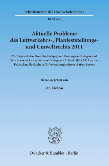 Cover: Aktuelle Probleme des Luftverkehrs-, Planfeststellungs- und Umweltrechts 2011
