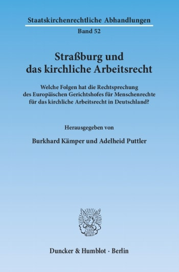 Cover: Straßburg und das kirchliche Arbeitsrecht