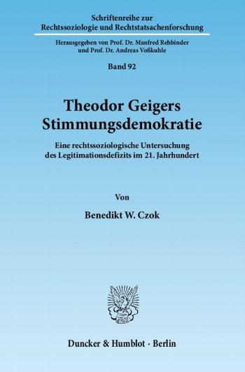 Cover: Theodor Geigers Stimmungsdemokratie