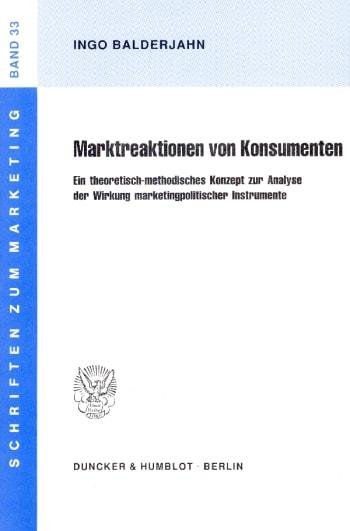 Cover: Marktreaktionen von Konsumenten