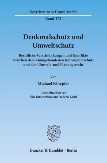 Cover: Denkmalschutz und Umweltschutz
